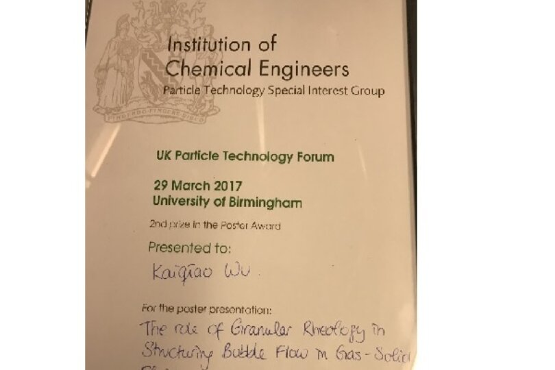 CNIE won the second prize of the poster presentation at UK Particle Technology Forum 2017!